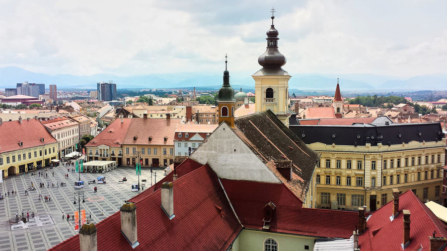 High angle view of town against sky