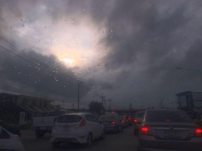 A little sun light on rainy morning🌦 Car Motor Vehicle Transportation Mode Of Transportation Rain Wet Road
