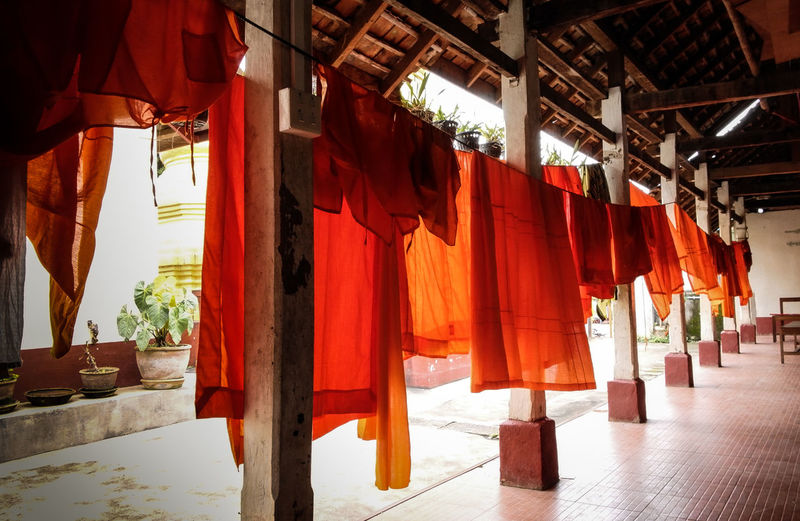Architectural Column Architecture Built Structure Column Dry Robe Empty In A Row Orange Color Red Robe Yellow Robe
