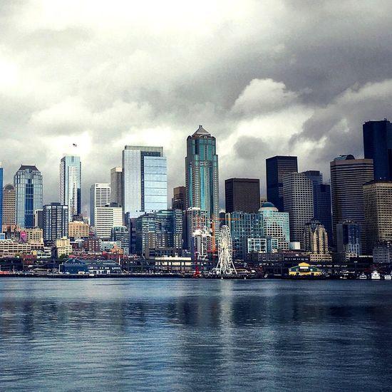 Beautiful Little City Cityscapes Seattle, Washington View from Bainbridge Island Ferry IPhoneography Iphoneonly EyeEm Gallery EyeEm Best Shots EyeEm Chillyweather  Cloudsandsky Camerateur Skyline Puget Sound, Washington The Architect - 2016 EyeEm Awards