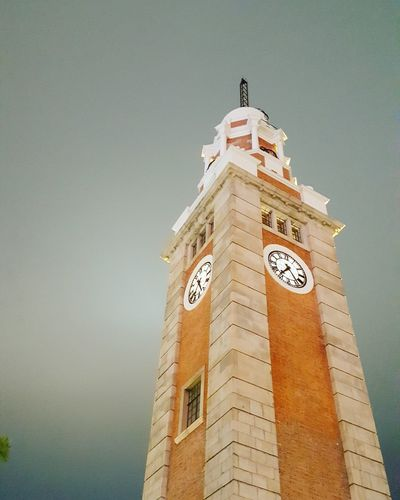 Looking up HongKong Architecture Low Angle View Tower Clock Time Clock Tower Building Exterior No People Sky City Hong Kong Architecture Hongkong Photos
