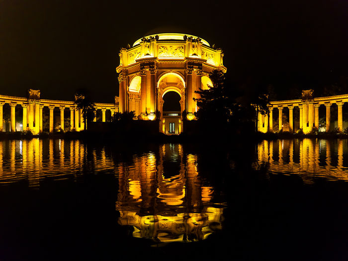 Palace of Fine Art by Night Nightphotography San Francisco Ancient Architectural Column Architecture Built Structure Illuminated Night No People Orange Color Outdoors Palace Reflection Tourism Travel Travel Destinations Urban Water Yellow