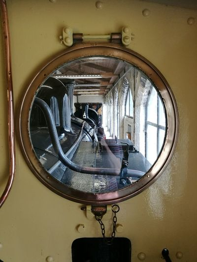 Mirrored view Window Window View Window Frame Windows And Doors Train Interior Steam Engine Steam Train Penryhncastle Penryhn Castle Museum Train Museum Train Collection Copper  Brass Pipe Engineering Engine Chain Old Unused Unused Train .