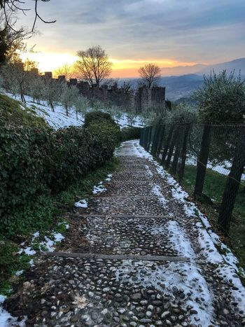 Snow Before Sunset Shotoniphone7 ShotOnIphone Asolo, Italy Asolo Castle Sky The Way Forward Tree Nature Water Beauty In Nature Cloud - Sky Scenics Tranquil Scene No People Sunset Tranquility Outdoors Bare Tree Landscape Grass Day Shades Of Winter