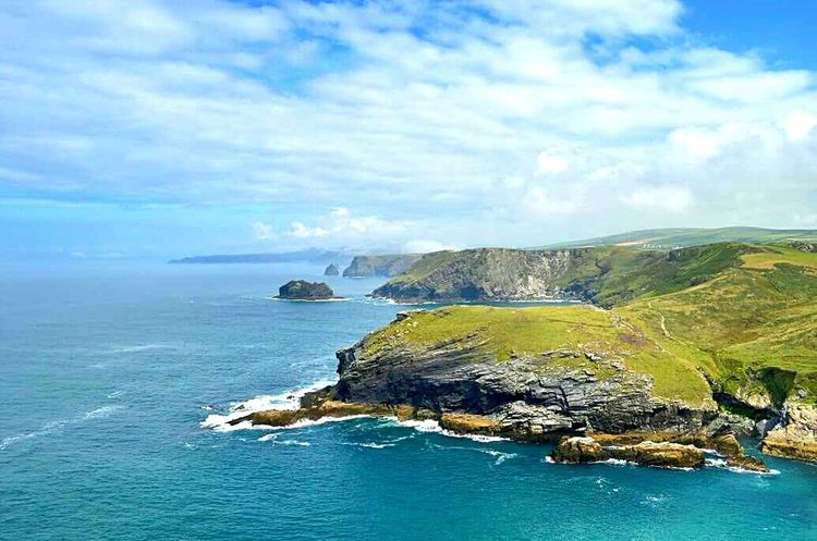 Water Beauty In Nature Coastline Cliff Cloud - Sky Waterfront Cornwall Walks Rock - Object Landscape Sky And Clouds Great Britain Beauty In Nature Tintagel