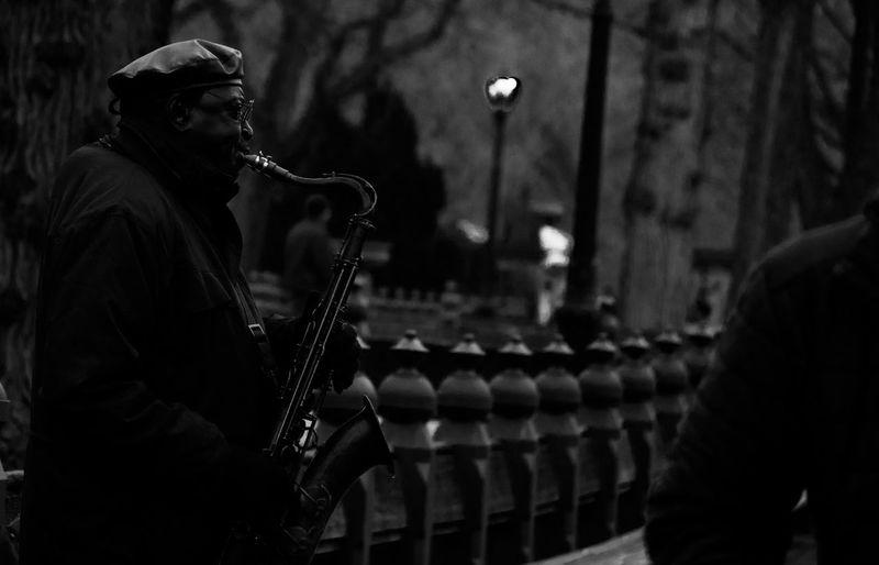 Urban Architecture City Life New York New York City Jazz Saxophone Music Men Park Headware