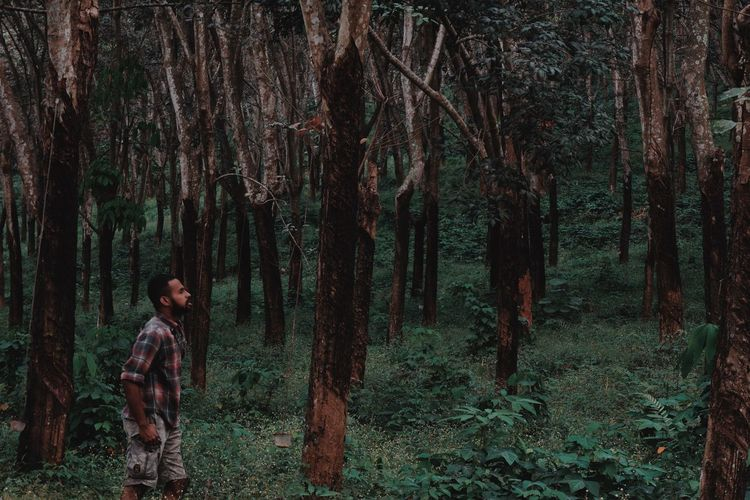 EyeEm Best Shots TheWeekOnEyeEM Tete_pucuk EyeEm Nature Lover Tree Trunk Tree Trunk Plant Forest One Person Lifestyles Outdoors Real People Standing Young Adult Men Casual Clothing Nature