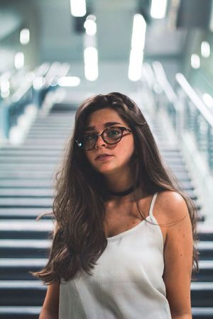 Young Adult Young Women One Person Eyeglasses  Portrait Portrait Of A Woman Portraits Beautiful People Women Disappointment Looking At Camera Fashion Modern Adult People Beauty Standing Beautiful Woman One Young Woman Only Adults Only Indoors