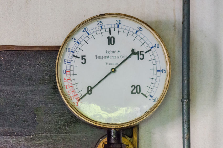 Old pressure gauges on a metal plate made of cast iron with pressure supply lines from an old ice cream maker. Tex free space. Accuracy Circle Close-up Communication Day Dial Equipment Gauge Geometric Shape Indoors  Instrument Of Measurement Machinery Meter - Instrument Of Measurement No People Number Physical Pressure Power Supply Pressure Gauge Shape Thermometer Wall - Building Feature
