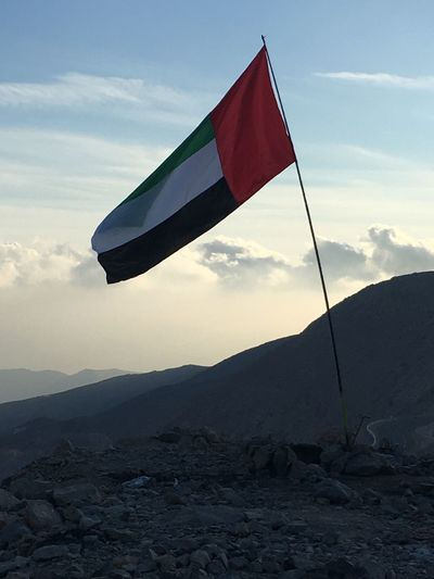 Sky Mountain Nature No People Tranquility Outdoors Day Cloud - Sky Beauty In Nature UAE flag