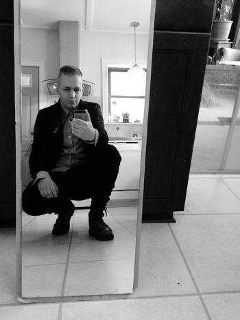 Mirror Selfie Reflection Sweatpants Boots Fashion Model Style Blackandwhite Self Portrait