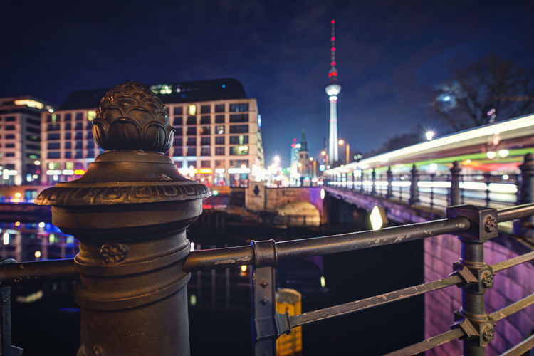Architecture Berlin Bokeh Bridge - Man Made Structure Building Exterior Built Structure City Cityscape Communication Fernsehturm Gelato Geländer Hauptstadt Illuminated Langzeitbelichtung Nachtaufnahme Night No People Outdoors River S Sky Travel Destinations Water