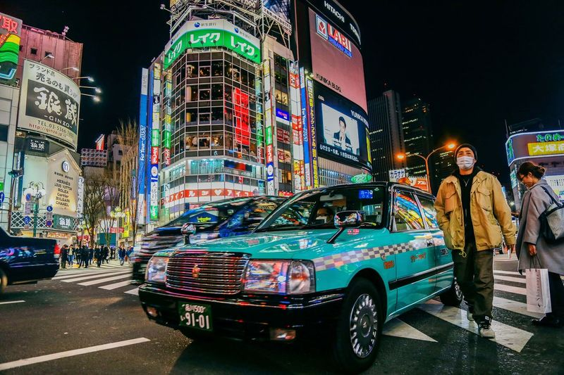 street City City Life Lifestyles 东京 出租车 城市 夜晚 旅行 日本 汽车 灯