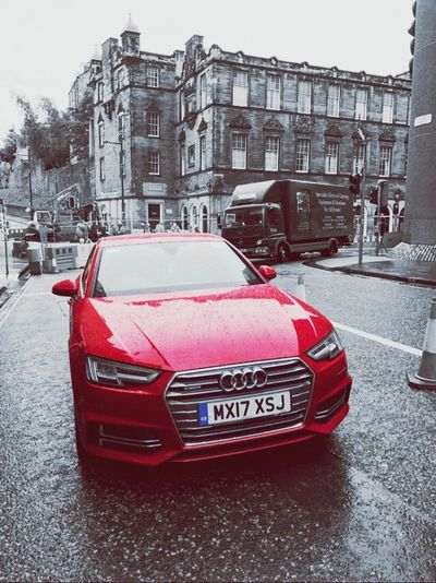 Car Land Vehicle Red Street Winter Snow Mode Of Transport Transportation Building Exterior Cold Temperature Architecture City Built Structure Road Outdoors No People Day Snowing Devil Red Amazing Love♥️audi