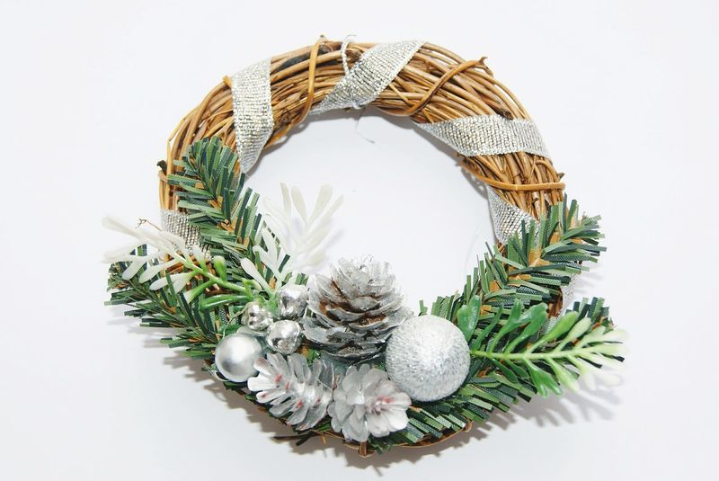 White Background Studio Shot Christmas Decoration No People Christmas High Angle View Branch Wreath Celebration Close-up Needle - Plant Part Christmas Ornament