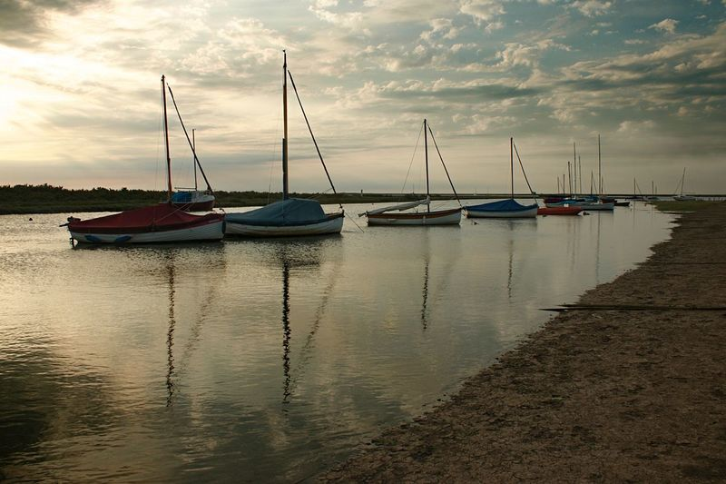 Sunset Sailboats Nautical Vessel Water Transportation Moored Mode Of Transport Boat Sky Tranquility Cloud - Sky Nature Tranquil Scene Outdoors Reflection No People Scenics Sea Beauty In Nature Sailboat Harbor Day EyeEmNewHere Sunset Sail Eventide Blakeney Norfolk Uk Norfolk Uk