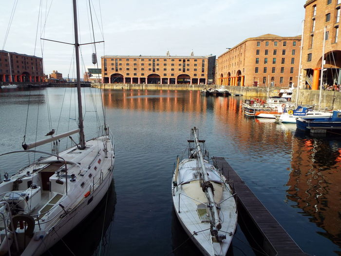 High angle view of boats moored at albert dock