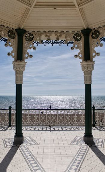 Sea view from the bandstand EyeEm Selects EyeEmNewHere Brighton Brighton Seafront Brighton Bandstand Water Sea Architectural Column Sky Architecture Built Structure Historic Architectural Feature Horizon Over Water