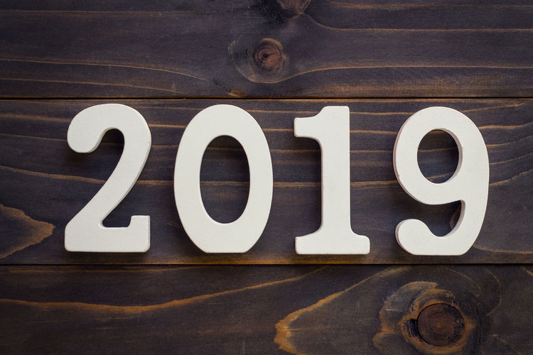 New year 2019 2019 Celebration Goals Holiday New Year Wood Backgrounds Black Color Close-up Communication Day Indoors  New Year 2019 No People Number Resolution Still Life Text Wood - Material