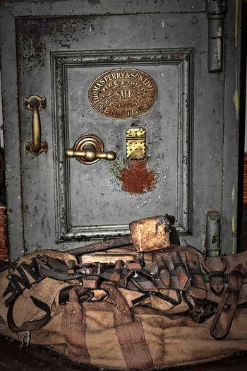 Closed metal door of old building