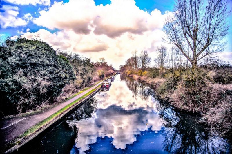Water colour her reflection Canal HDR Hdr_Collection Landscape Landscape_photography Landscapes Skyscape Cloudscape Cloudscapes Sky Sky And Clouds Tree Water Sky Cloud - Sky Flowing Water