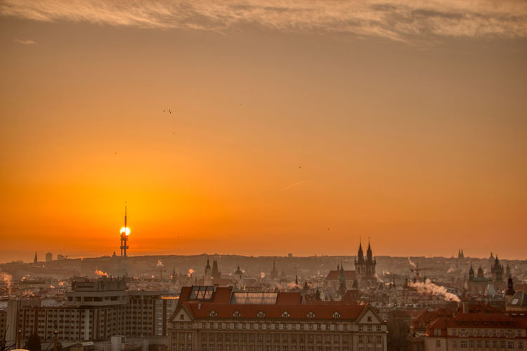 Prague tv tower at sunrise wirh roofs and birds flying
