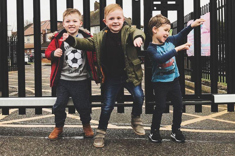 Ewan, Jude and Henry Childhood Child Boys Males  Men Full Length Smiling