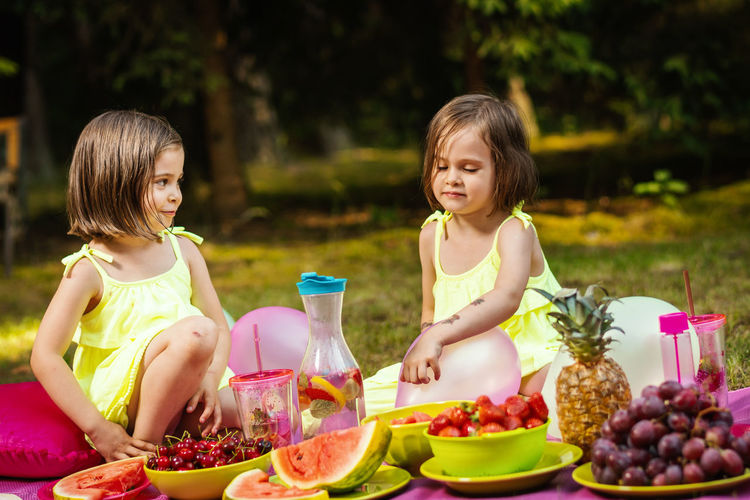 Picnic Girl Child Childhood Kid Forest Summer Sister Sisters Twins Offspring Food And Drink Girls Women Family Togetherness Two People Females Food Daughter Sitting Adult Healthy Eating Bonding Smiling Wellbeing Enjoyment Fruit Innocence Outdoors