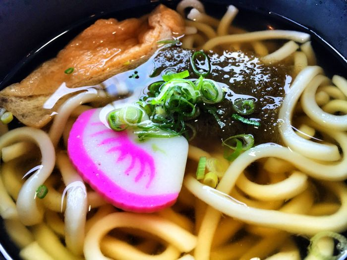 High Angle View Of Noodle Soup