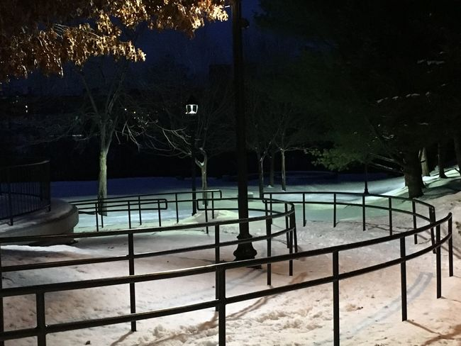 Showcase: February No People Outdoors Tree Metal Engineering Dusk Auburn, Maine, USA Railing Snowy Recreational Park; Curved Black Metal Pattern Of Handrails