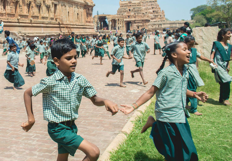 Happy India Running Travel Ancient Architecture Chidren Childhood Culture Day Indiapictures Kids Having Fun Leisure Activity Outdoors Playing School Life  Tamilnadu Temple Architecture Vacations EyeEmNewHere