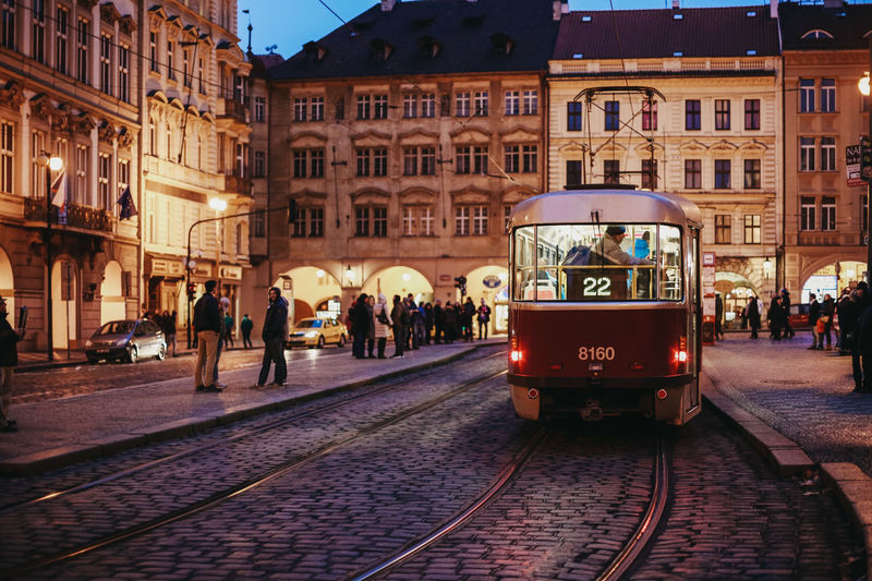 Going home Czech Republic Going Home On The Way Prague Tram Travel Architecture Building Exterior City City Life Dusk In The City Europe Evening Old City Outdoors People Public Transportation Railroad Track Real People Tramway Transportation Travel Destinations Colour Your Horizn