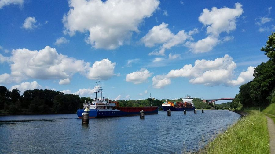 Nord-Ostsee-Kanal Cloud - Sky Water Nautical Vessel Transportation River Canals And Waterways Canal Boats Cloud And Sky Canal View Passage Transportation Route Transport Ship Kiel Canal