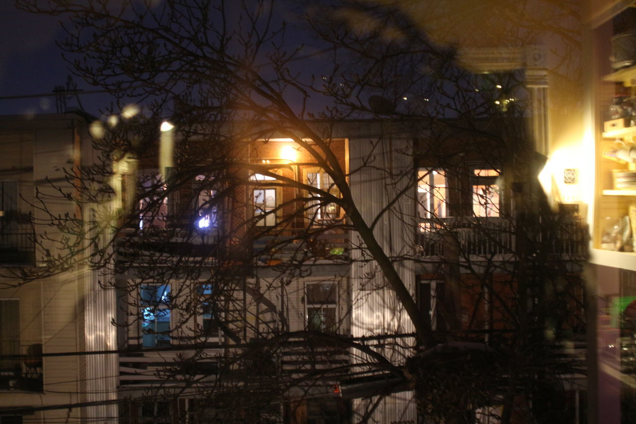 ILLUMINATED STREET LIGHT AND BUILDING AT NIGHT