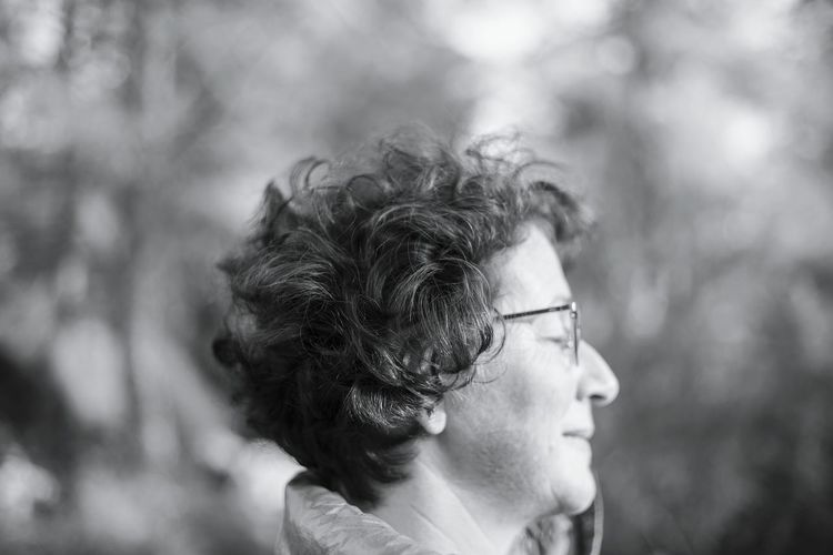 Peace And Quiet Peaceful Profile Portrait Woman Black And White Defocus Blurry Calm In The Forest Free Deep Breath