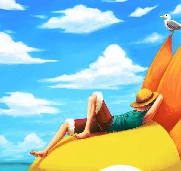 Just chilling Anime Luffy OnePiece