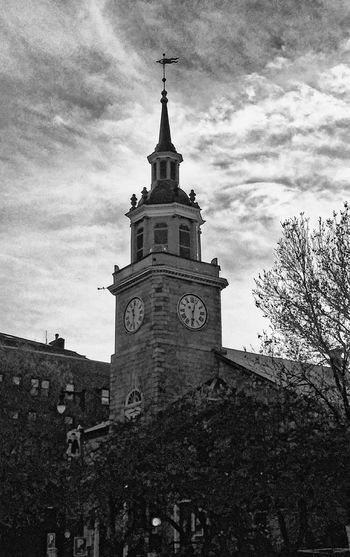 November...~ Taking A Walk Place Of Worship Peaceful Place Culture And Tradition Love My City Portland Maine Church Loving The Landscape No People Tranquility Love Tree Brick Building Fall Weather Clock Tower Clock History City Flag Sky Architecture Building Exterior Spire  Clock Face Steeple Instrument Of Time