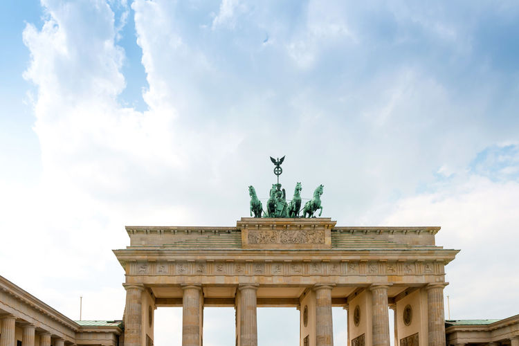 Architecture Brandenburg Gate City City Gate Cloud - Sky Day Low Angle View No People Outdoors Sky Statue Travel Destinations
