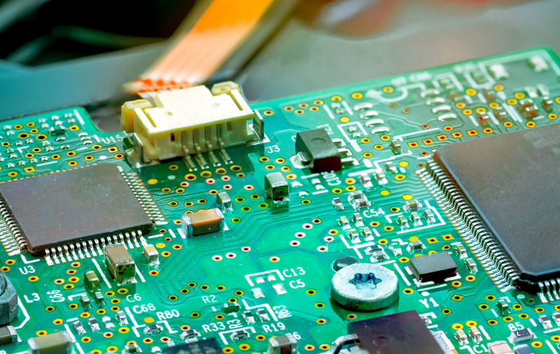 Close-up of circuit board on table