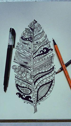 Mandala Feather  Drawing Sketch Tattoo Art Blackandwhite