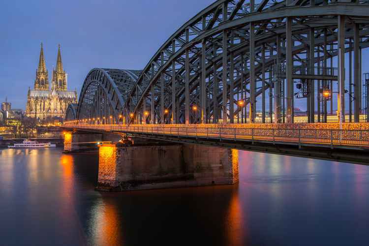 Cologne cathedral and hohenzollern bridge in cologne, germany