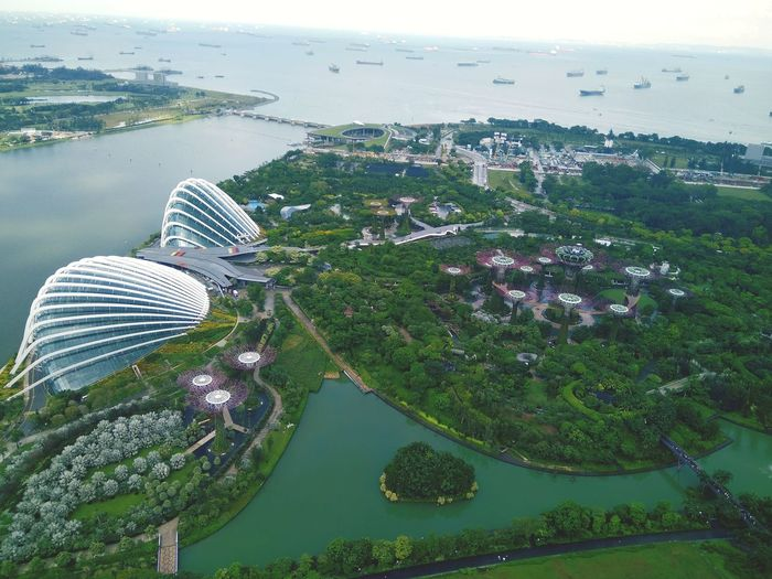 EyeEmNewHere Water Sea Aerial View Outdoors Sky Horizon Over Water Tree City Marina Bay Singapore View First Eyeem Photo