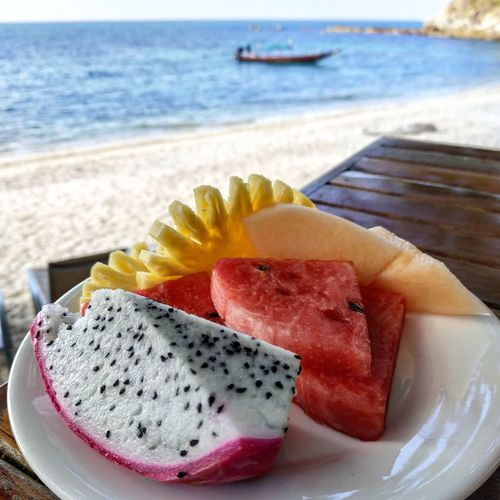 Tropical breakfast in Koh Tao. Thailand Tropical Dragonfruit Watermelon Healthy Food Healthy Fruits Breakfast Koh Tao Thai ASIA Amazing Thailand Thailand Kohtao Southeast Asia Southeastasia Water Sea Fruit Beach Plate SLICE Close-up Sweet Food Food And Drink Tropical Fruit Pineapple