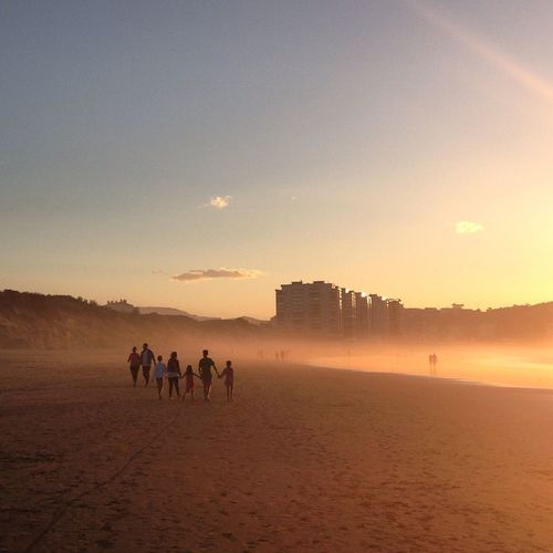 People Together Together Forever Holding Hands Beach Sunset Fog Walking