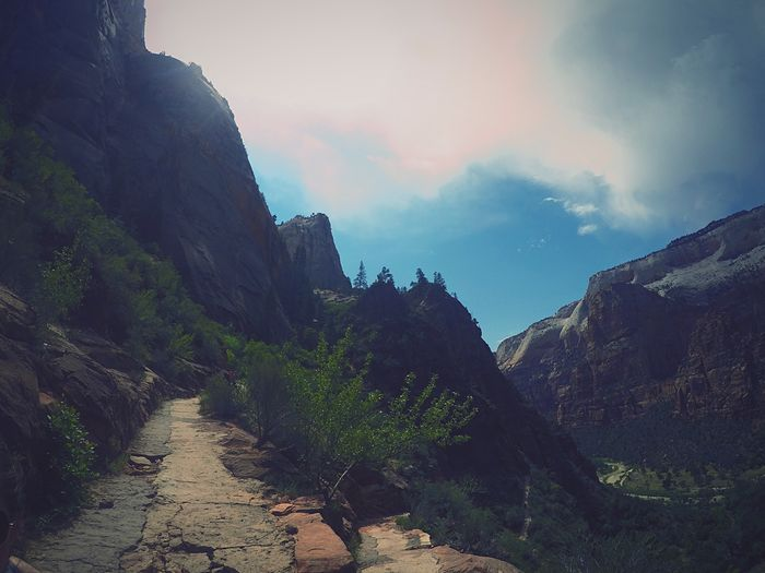Hiking USA Utah Zion National Park Gopro Up High Trail Mountain Nature Sky Scenics Beauty In Nature Tranquility Rock - Object No People Outdoors Day Landscape
