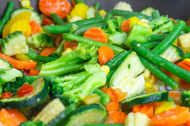 Close-up of chopped vegetables