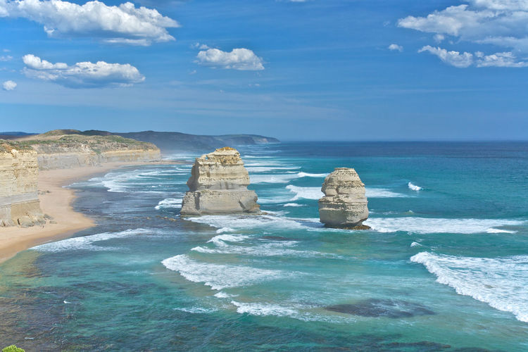 Scenic view of twelve apostles against sky