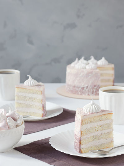 Close-up of cakes in plate on table