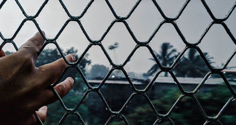 Window Trainwindow Local Train Train Window Raining Raining Outside EyeEm Selects Human Hand Men Chainlink Fence Human Finger Sky Close-up Chainlink Fence Personal Perspective
