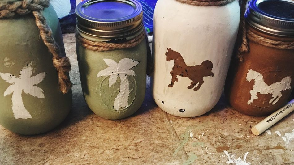 Mason Jar Forfun HandPainted Relaxing Palmtree Horses Still Life Table High Angle View Food And Drink No People Food Close-up Day Freshness